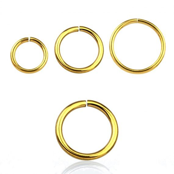 391#piercing seamless gold ring