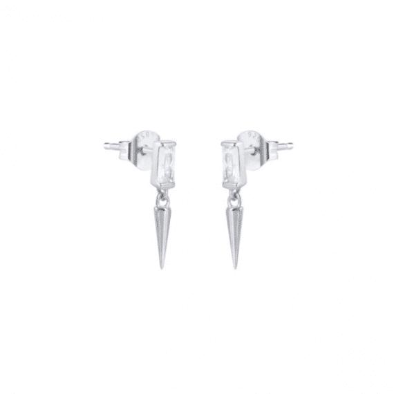 עגילים צמודים-זרקון-תליון-ספייק