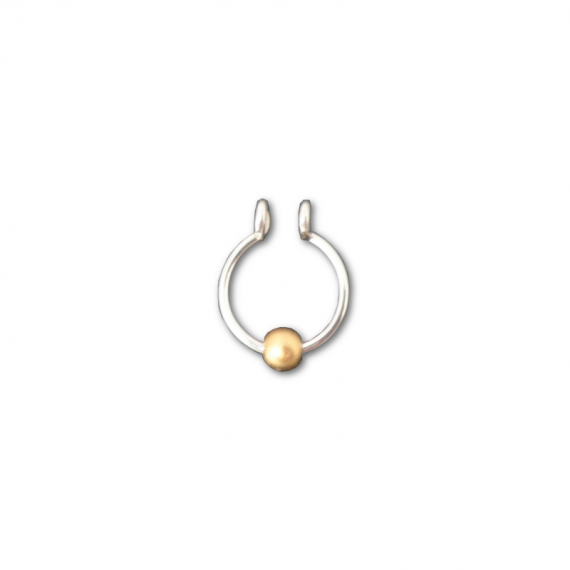 sterling silver fake septum with gold bead
