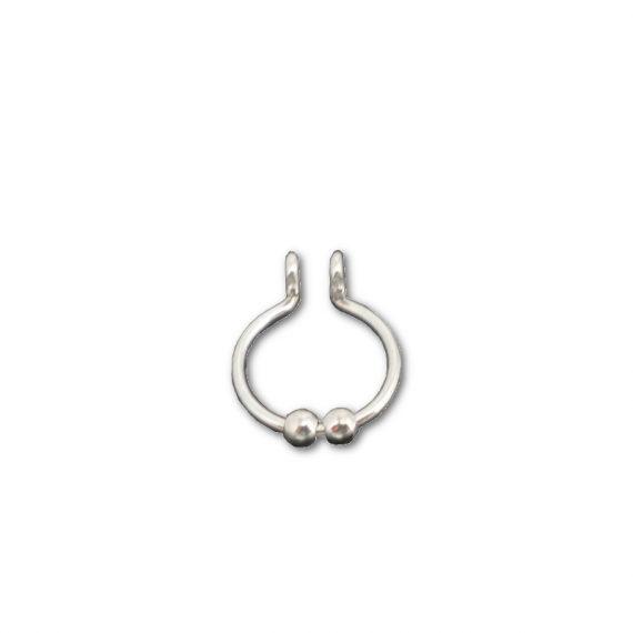 sterling silver fake septum with two beads