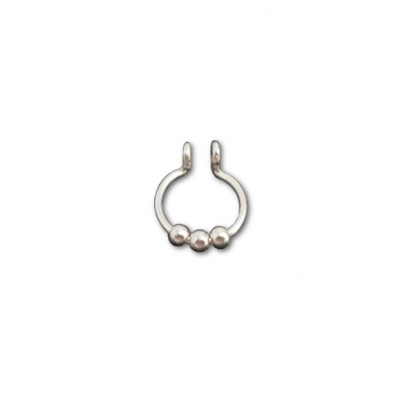 sterling silver three balls fake septum