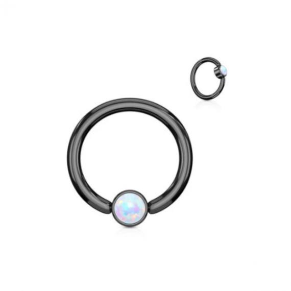 טבעת לחץ שחורה עם אופל לבן