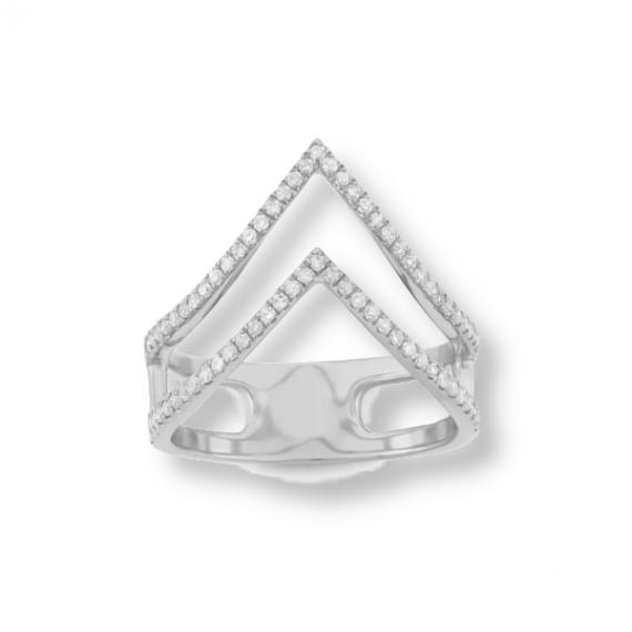 טבעת v כפולה עם קריסטלים