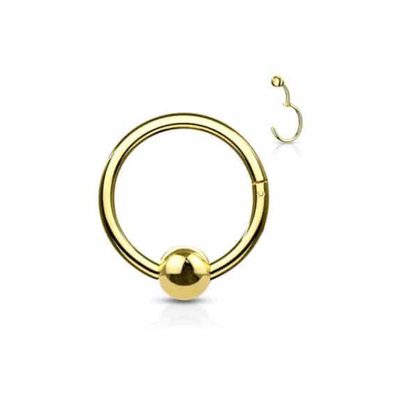 עגיל הליקס קליקר זהב עם כדור